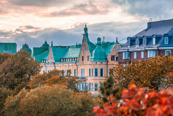 The tops o trees and buildings in Helsinki, Finland - best cities in europe to photograph