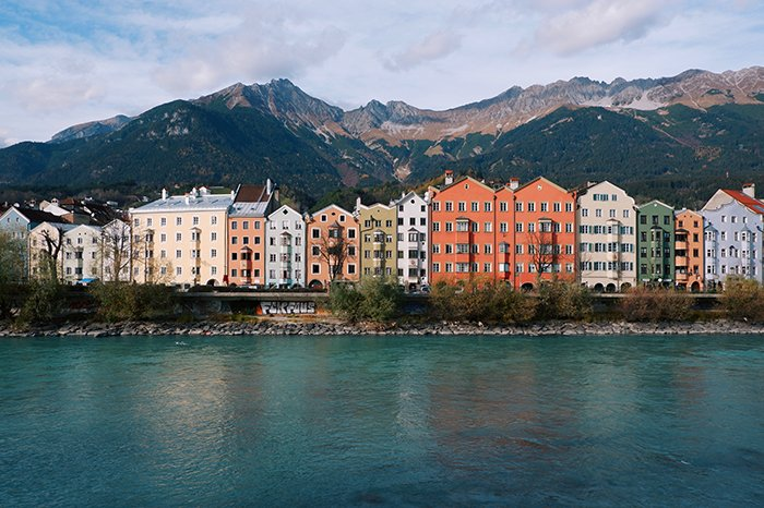 A line of coloured houses on the coast of Innsbruck