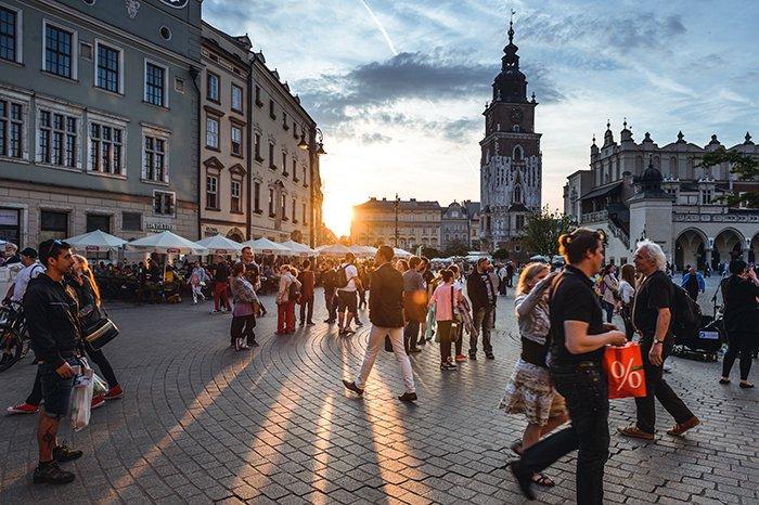A busy street scene in Krakow - most beautiful cities in Europe