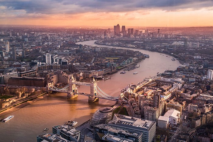 An aerial view of London city - best photography spots
