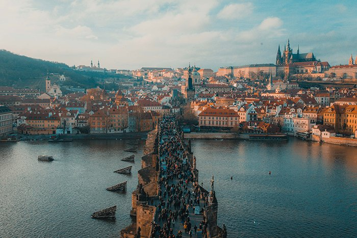 An aerial cityscape of Prague - best European cities to visit