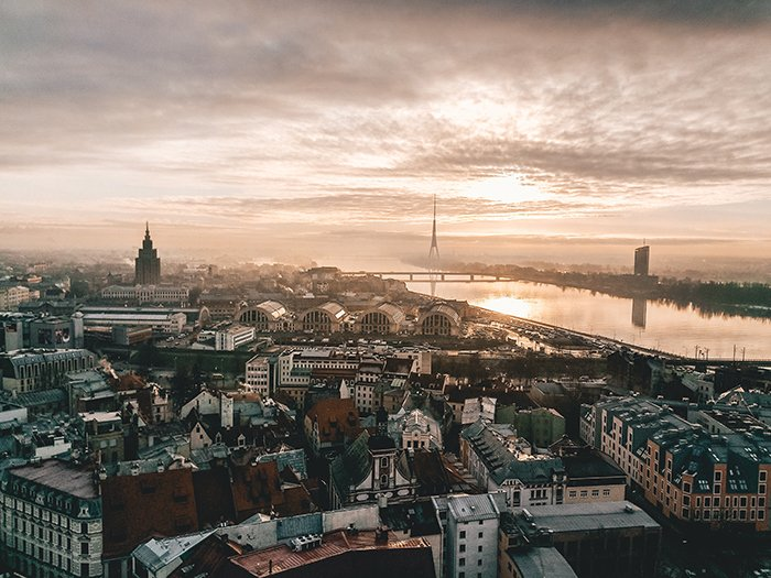 An aerial cityscape of Riga, Latvia - best european cities to visit