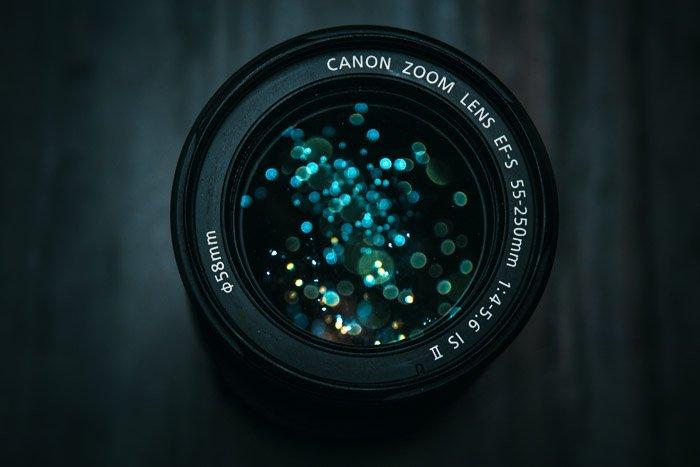 A close up of a canon dslr lens
