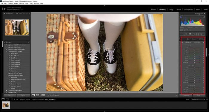 A screenshot of using color grading to edit a photo