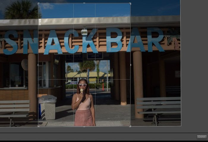 a screenshot showing how to crop photos in lightroom