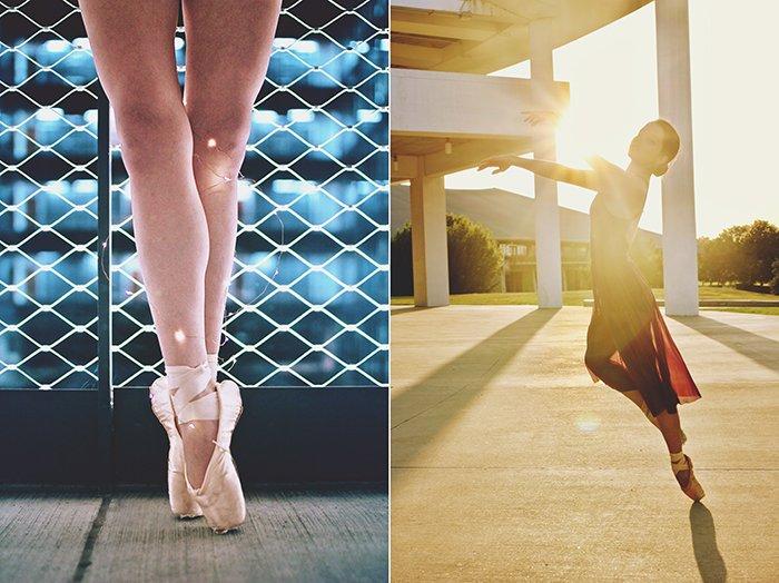 A dance photography diptych of a female ballet dancer