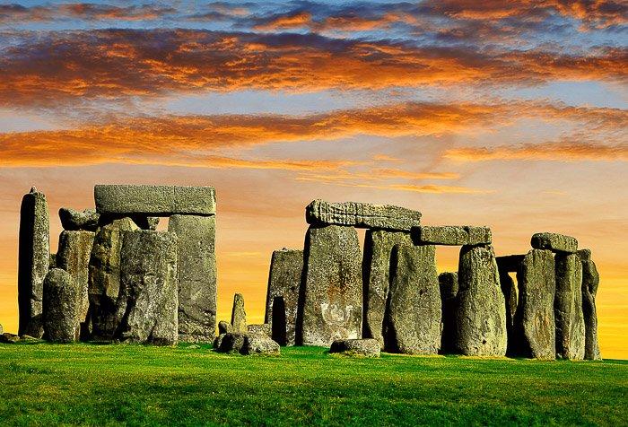 Stonehenge under dramatic clouds at sunset - beautiful sky photography