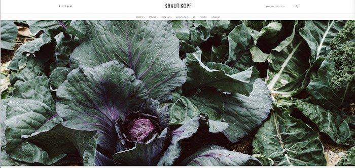 A screenshot from Krautkopf food photography blog