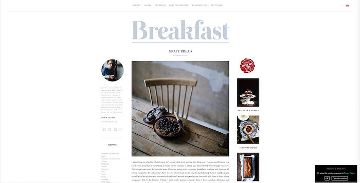 A screenshot from What Should I Eat for Breakfast Today? food photography blog