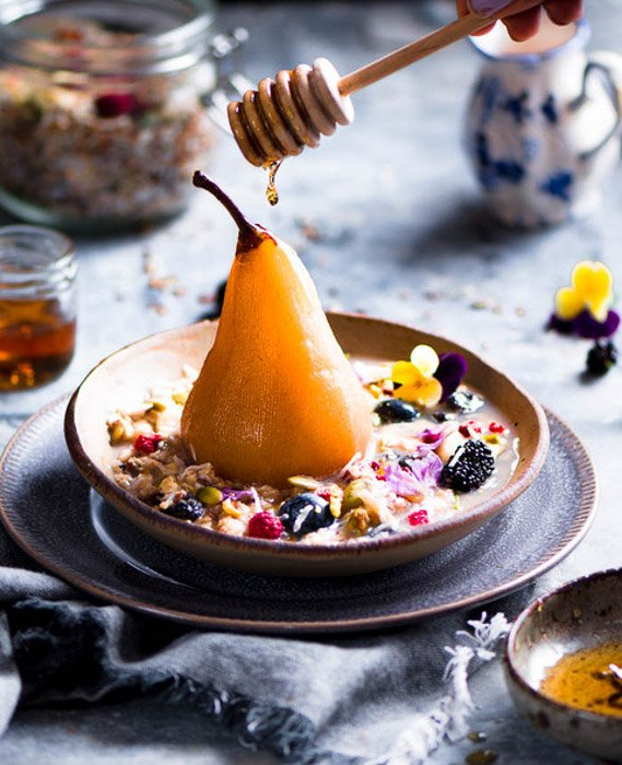 Homey drizzling onto a pear based dessert from Pearls of East blog