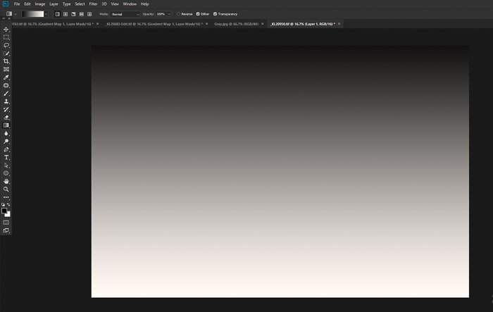 A screenshot of gradient map tool open on photoshop