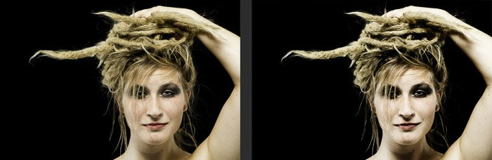 Diptych porttrait of a female model before and after using the gradient map tool in Photoshop