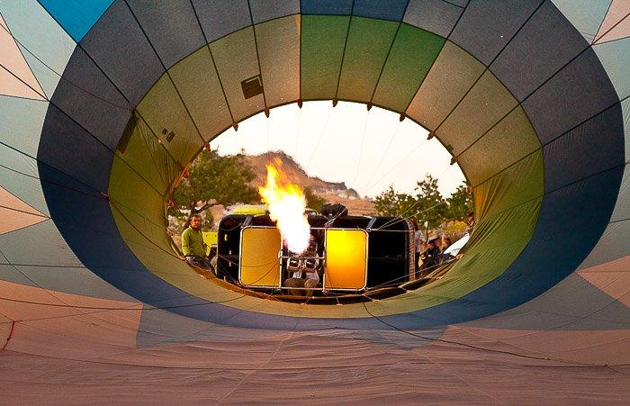 A photograph shot through a hot air balloon