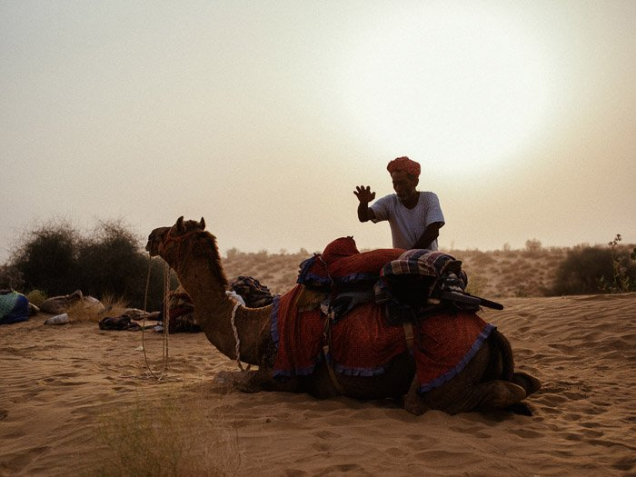 A portrait of a man standing by a camel in the desert, with a beautiful lens flare behind him