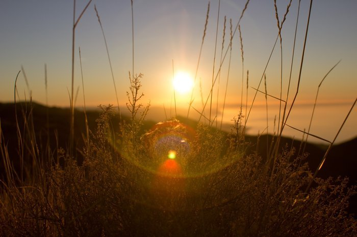 A sunset photo with lens flare