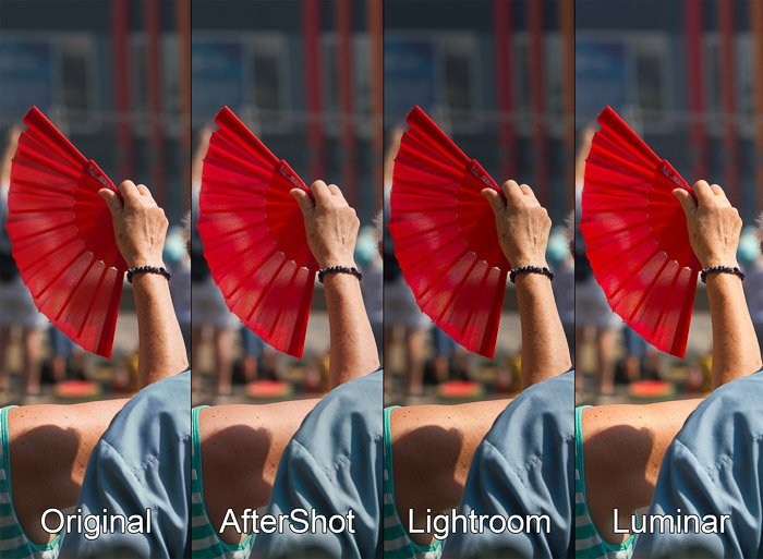 A 4 photo grid comparing a photo edited withAftershot, Luminar and Lightroom