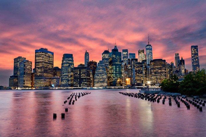 New York cityscape taken from Brooklyn Bridge Park.