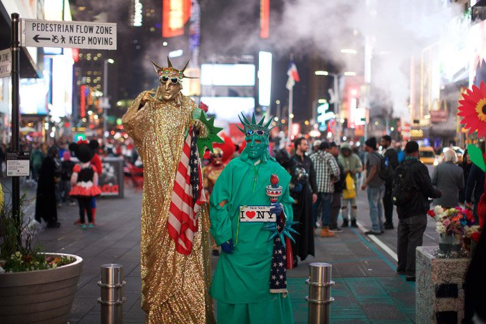 Costumed street performers in Times Square