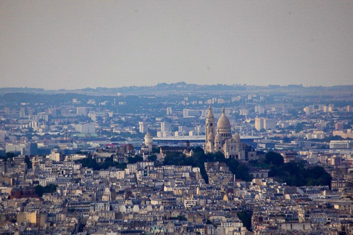The view of Sacre Coueur sat on top of Montmartre. The view is from Montparnasse tower.