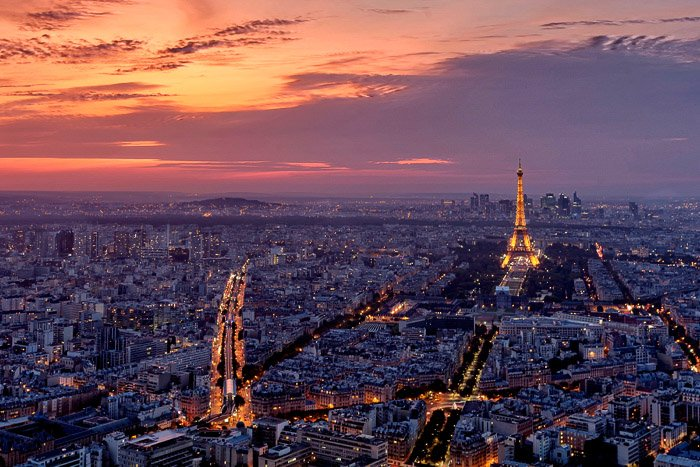 The view of Paris at sunset from the Montparnasse Tower.