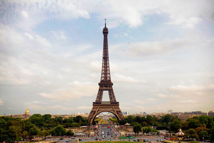 The Eiffel Tower as seen from the viewpoint at the Trocadero.