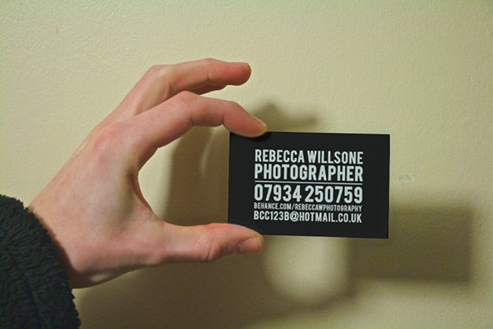 Photography business cards that resemble a Canon point and shoot camera by Rebecca Willsone