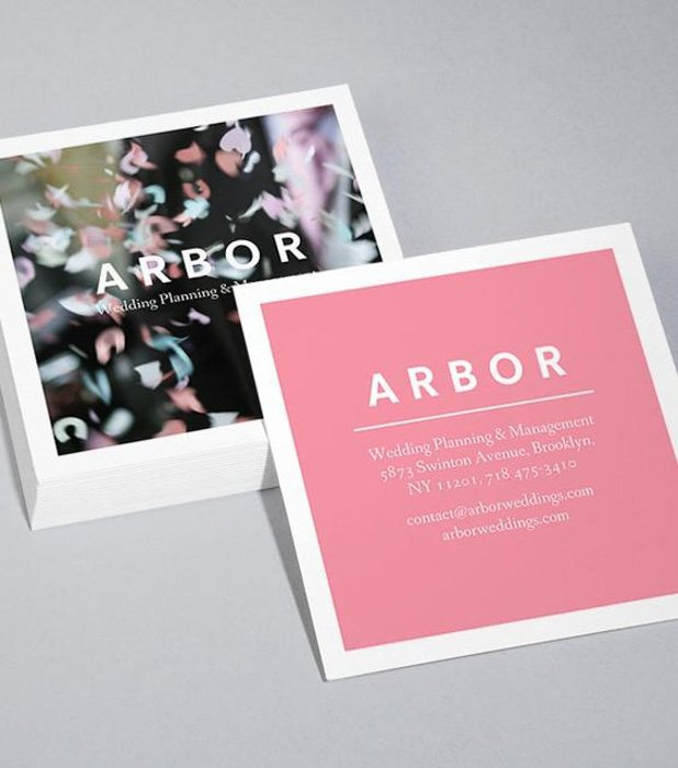 Square photography business cards by Arbor Weddings