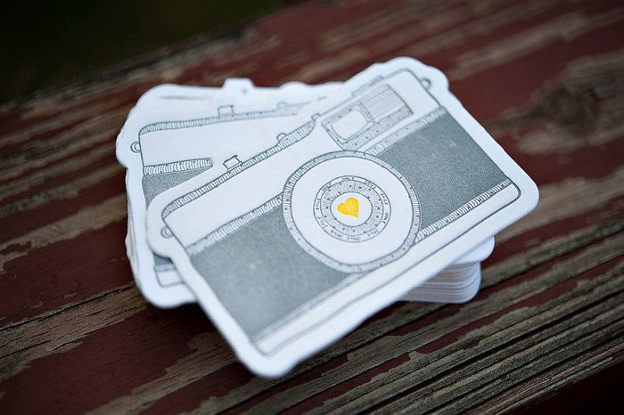 Fun photography business cards featuring a drawing of a camera by Melissa Copeland
