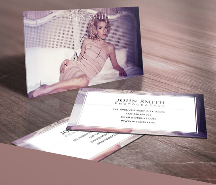 Photography business cards which use the viewfinder frame and crosshair as an overlay to your image.