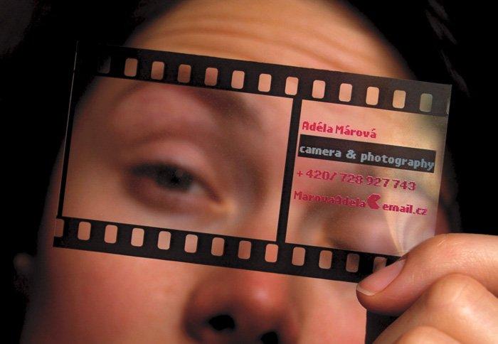 A roll of film negative photography business card by Adéla Márová - diy business cards