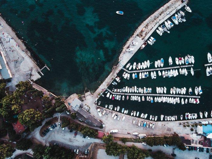 An aerial shot of a beautiful coastal scene