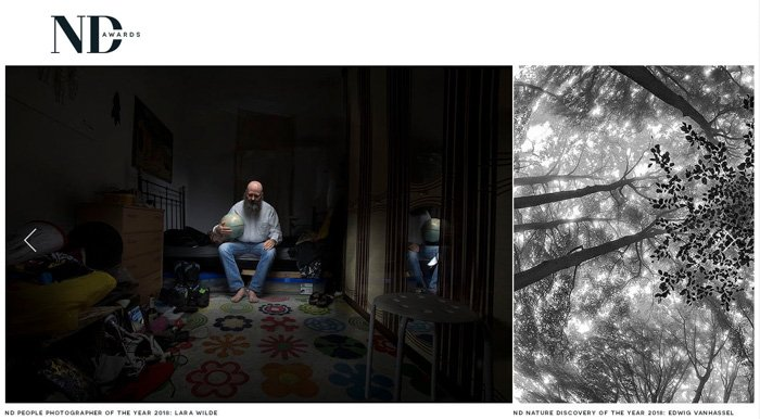 A screenshot from the ND Awards photography contests website