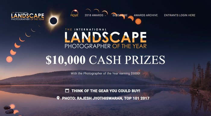 Screenshot from the International Landscape Photographer of the Year photography contests site