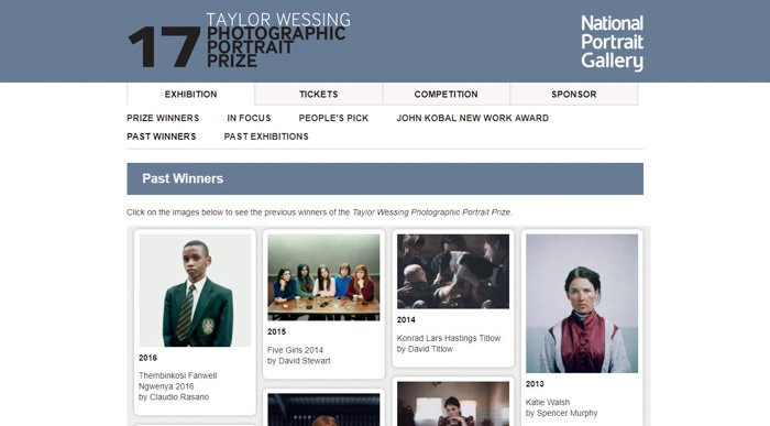 A screenshot of the Taylor Wessing Photographic Portrait Prize website