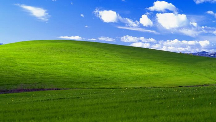 """'Bliss"""" the default wallpaper for Windows XP, captured by Charles O'Rear in 1996"""