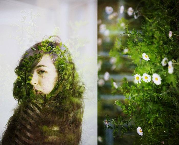 A diptych photo series of a female model double exposed with green foliage