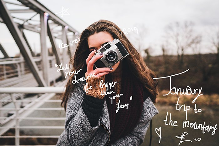 Young girl with a vintage camera in front of her face. The picture has white words scribbled on it.