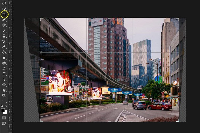 Screenshot showing how to crop a photo in Photoshop - using the crop tool