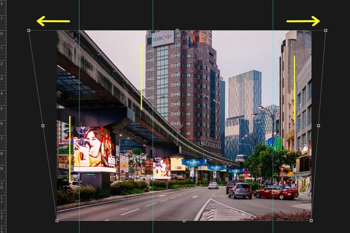 Screenshot showing how to crop and straighten images in Photoshop