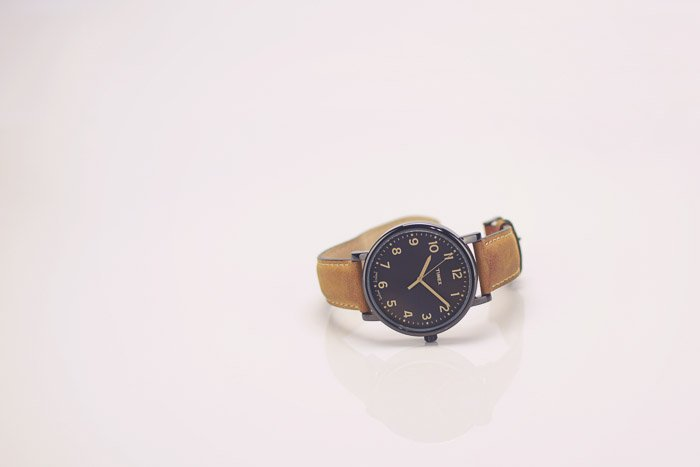 A product photography shot of a wristwatch on white background