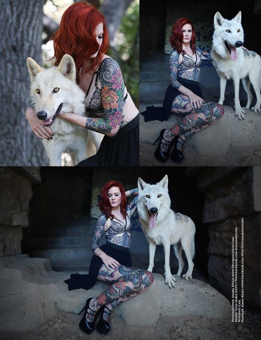 Triptych of a female model posing with a dog