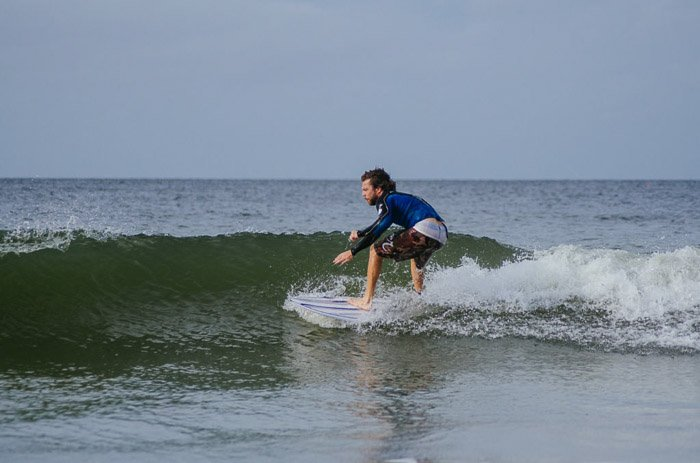 A man surfing shot with a telephoto lens