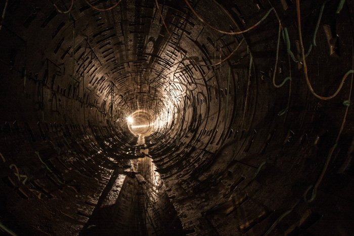 Atmospheric shot of a dark tunnel shot during an urban exploration trip