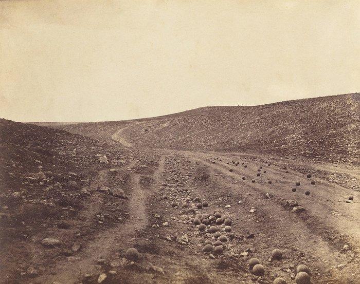 A monochrome landscape shot by Roger Fenton,