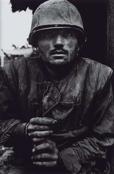 A black and white portarit of a soldier by Don McCullin, best war photographers
