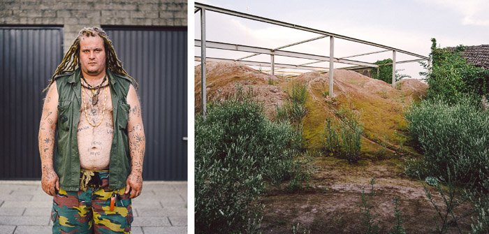 A diptych of a man posing outside a galvanized shed and a garden area, from a personal documentary project about a social housing community in Belgium.