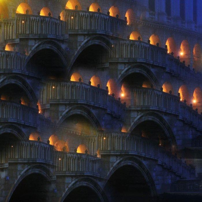 Venetian Bridge Abstract - by Csilla Zelko