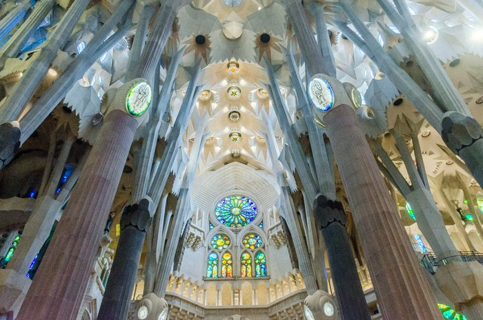The stunning interior of the Sagrada Familia in Barcelona