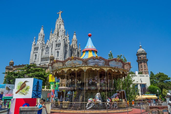 An amusement park by Tibidabo in Barcelona, pictures of barcelona spain