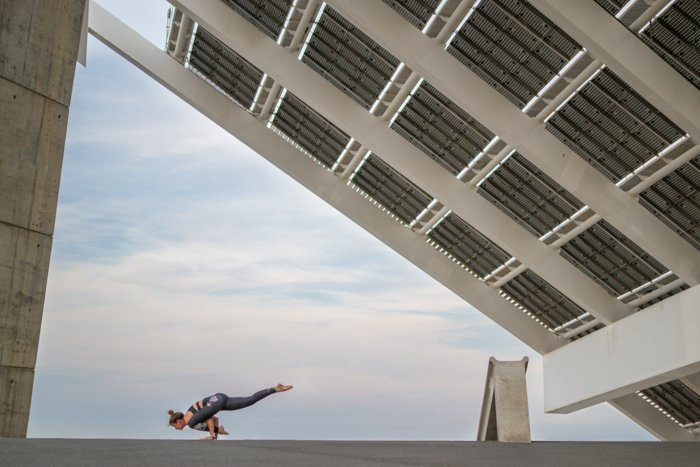 A person doing aerobics at the Forum in Barcelona